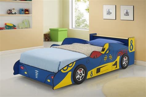 children s race car bed blue race car beds for children kfs stores