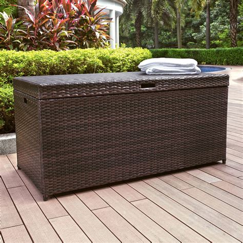 outdoor wicker storage bench indoor benches shop at hayneedle com