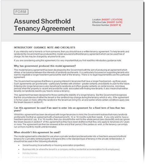 free assured shorthold tenancy agreement document