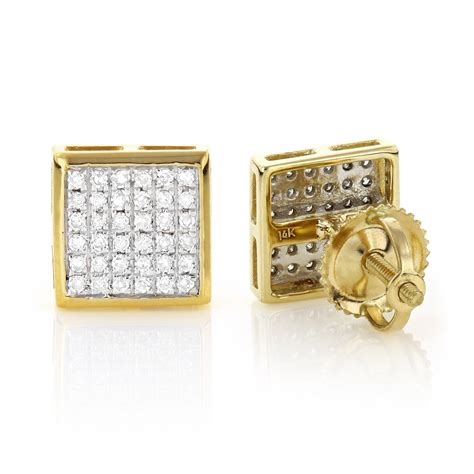 square earrings 14k gold square shaped stud earrings 0 41ct
