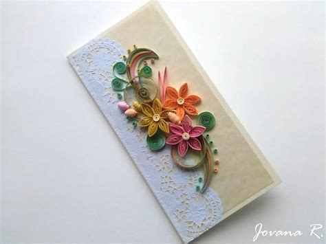 Unique Handmade Card - unique handmade greeting card quilling card wedding card
