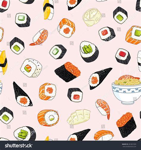 japanese meal pattern japanese food pattern vectores en stock 281857205