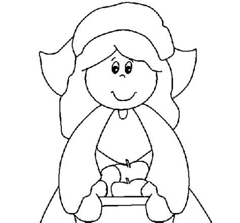 coloring page of a pilgrim girl colored page pilgrim girl painted by yuan