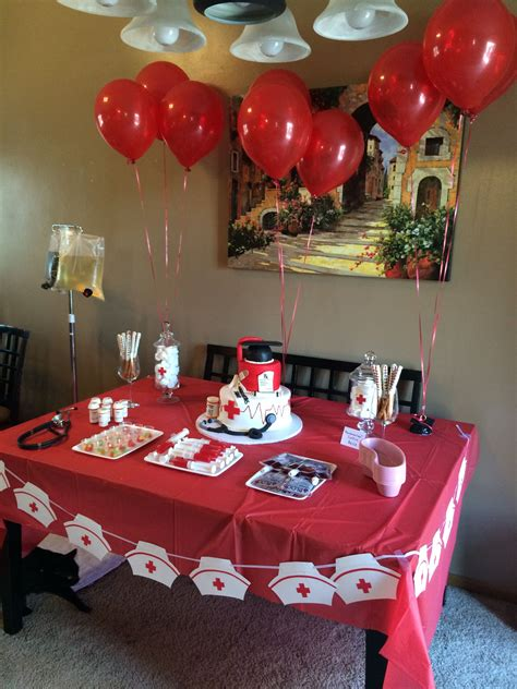 table decor nursing school graduation party nursing