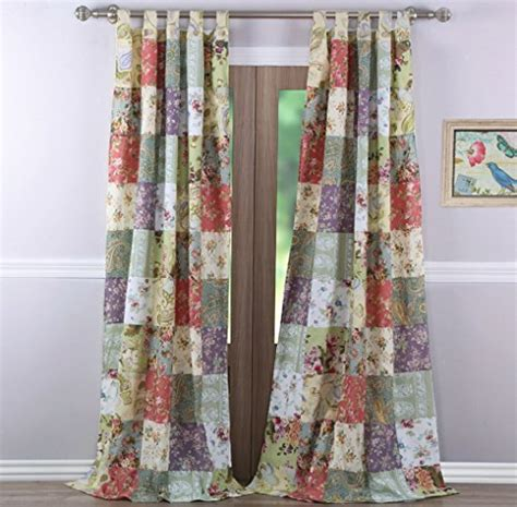 print curtains and window treatments country cottage floral print patchwork pattern yellow blue