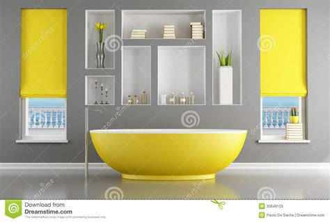 contemporary bathroom with yellow bathtub stock