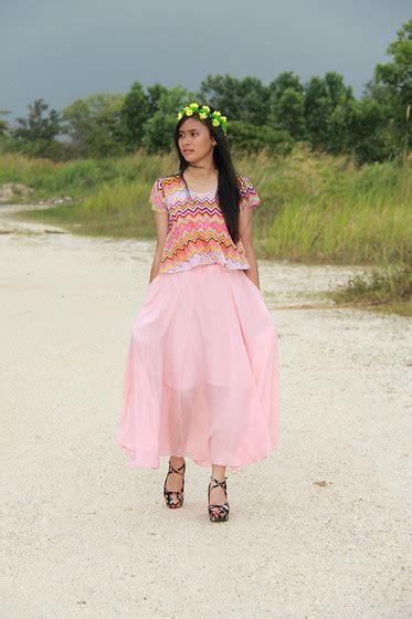 Flower Skirt Soft Pink jesica natasya flower crown pastel croptee soft pink