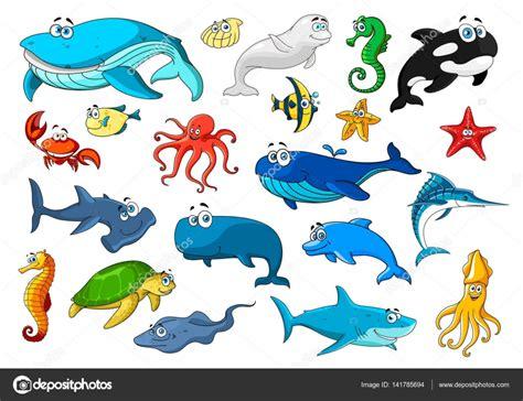 imagenes animales marinos animados conjunto de iconos de dibujos animados aislados animales