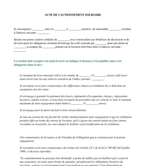 Exemple De Lettre Garantie Locative Document De Caution Acte De Cautionnement Mod 232 Le De Lettre Type