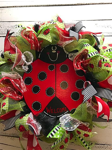 summer wreath ladybug wreath welcome wreath