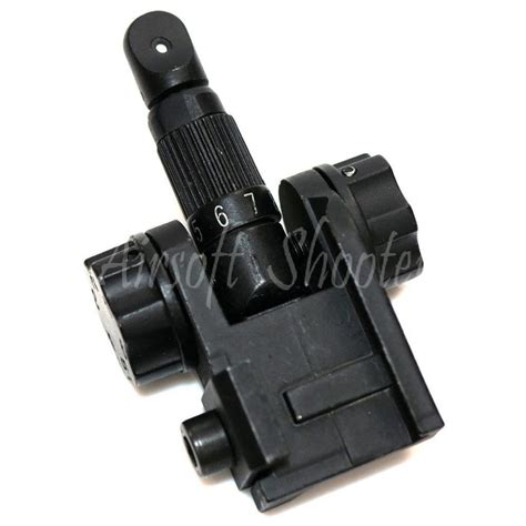 Shooter Design Metal Rear Sight Type D airsoft shooting gear d boys scar type metal flip up rear sight black ebay