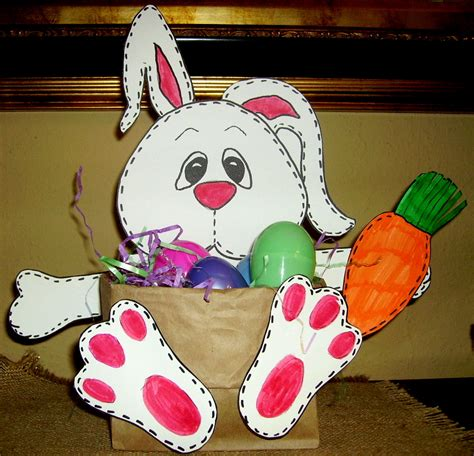 easter bunny paper bag puppet template stitches the bunny basket glitter