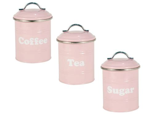 pink kitchen canisters pink vintage tea coffee sugar canisters storage cans tins