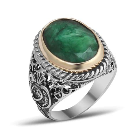 root emerald silver ring boutique ottoman jewelry store