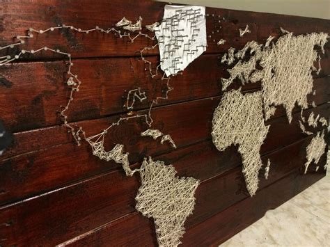String On Wood - pallet project string and nail world map pallets
