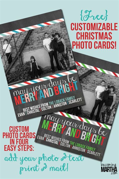 custom photo card templates printable personalized cards happy holidays