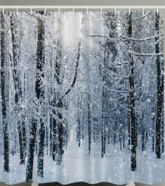Winter Themed Shower Curtains snowy forest white tree branches winter themed