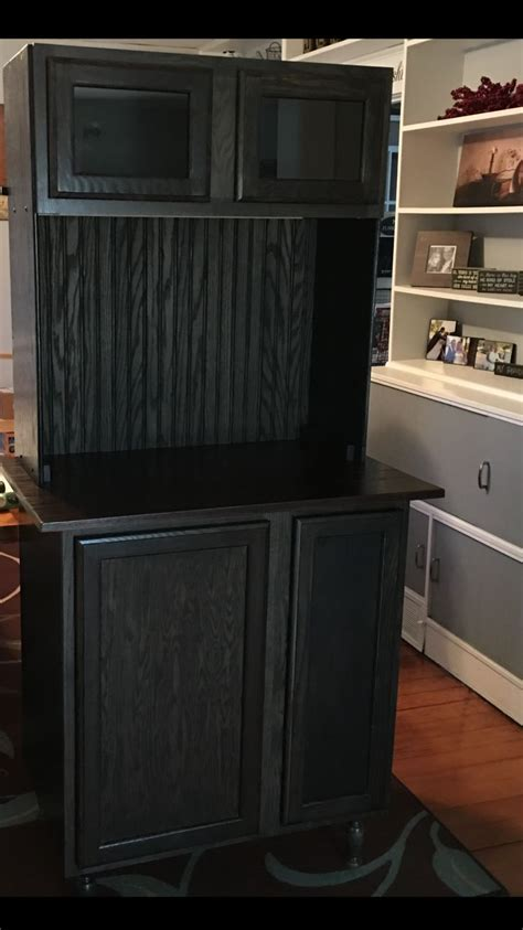 Unfinished Bar Cabinets Coffee Bar Using Unfinished Cabinets From Lowes Adding Legs And Wire Basket And Shelf See