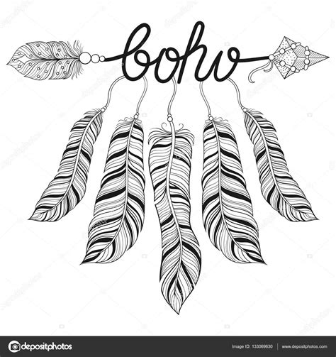 boho chic ethnic arrow with feathers freedom concept