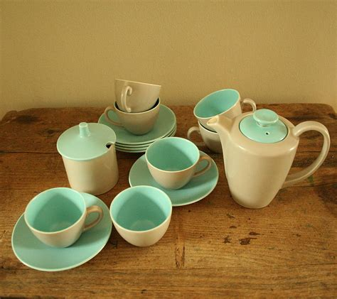 poole pottery twin tone coffee set by homestead store