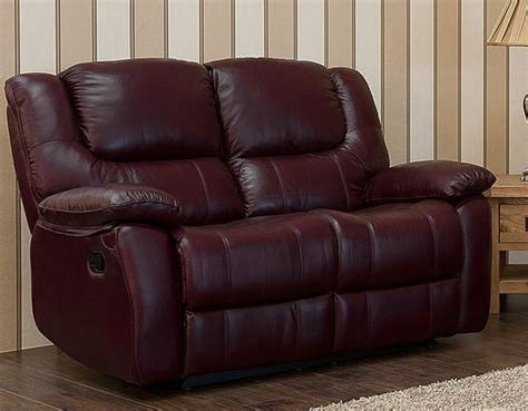 Harvey Reclining 2 Seater Leather Sofa Burgandy Harvey Leather Sofa