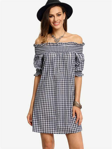 Shoulder Plaid Shirt blue white plaid the shoulder shirt dress makemechic