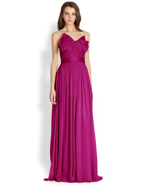 Marchesa Silk Chiffon Gown by Notte By Marchesa Silk Chiffon Strapless Gown In Purple