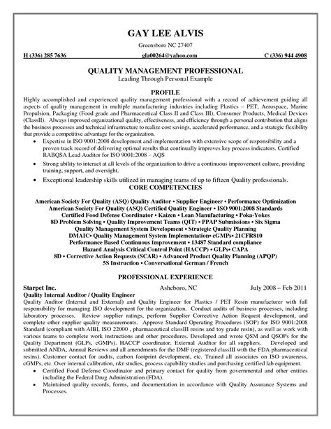quality assurance engineer resume sle quality food resume sales quality
