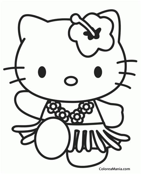 imagenes kitty para colorear colorear kitty con falda hawaiana hello kitty dibujo