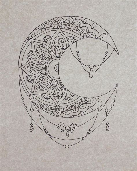 pattern moon drawing drawn lunar mandala pencil and in color drawn lunar mandala