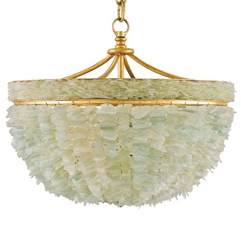 Glass Chain Chandelier Mira Coastal Beach Marine Sea Glass Gold 3 Light Bowl