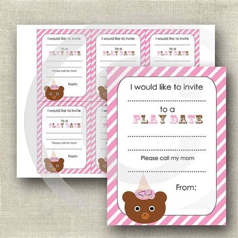 playdate cards printable template 14 best images about playdate on cas flats