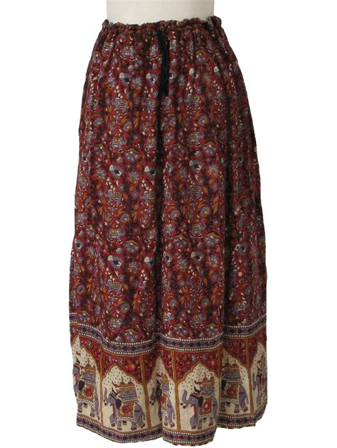 Chesse Pattern Maxi retro 1990s hippie skirt 90s made in india womens
