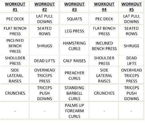 5 day workout routine for mass