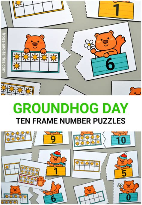 groundhog day number of days groundhog day ten frame number puzzles frogs and fairies