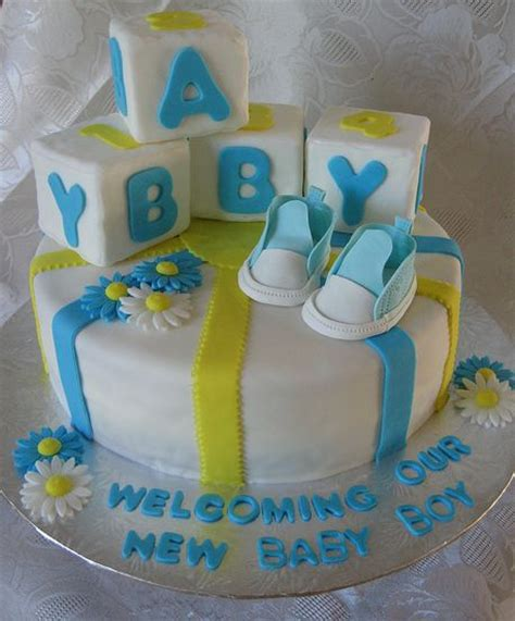Baby Shower Cake With Baby On Top by White Baby Boy Shower Cake With Baby Blocks And