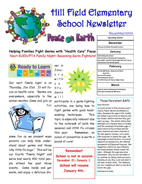 elementary school newsletter template free 28 free elementary school newsletter template