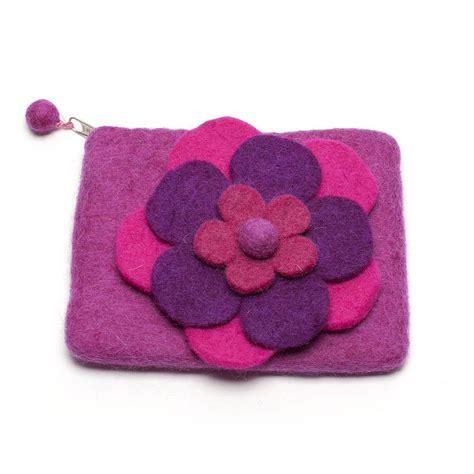Handmade Felt Brooches - handmade felt layered flower purse and brooch by felt so