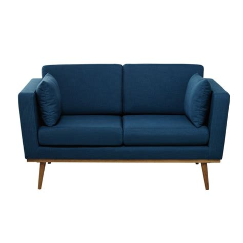 Two Seater Fabric Sofa by 2 Seater Fabric Sofa In Petrol Blue Timeo Maisons Du Monde