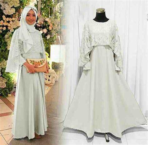 model baju gamis pesta brokat olivia putih model baju