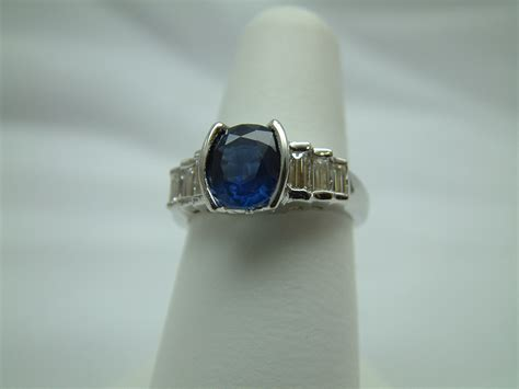 18k white gold blue sapphire and ring made to