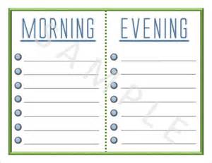 daily routine checklist template printable blank daily checklist
