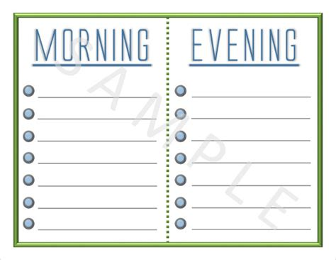 daily routine checklist template blank checklist template 36 free psd vector eps ai