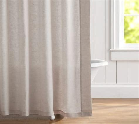 hemstitch curtains belgian flax linen hemstitch shower curtain pottery barn
