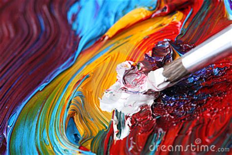 paint mix mixed oil paint with paintbrush royalty free stock