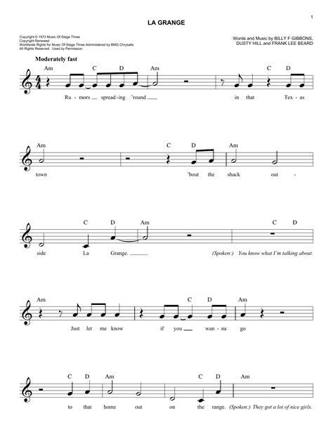 la grange lyrics and chords la grange chords by zz top melody line lyrics chords