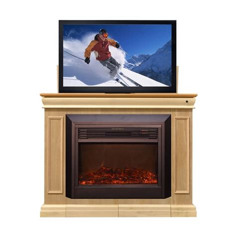 fireplace tv lift touchstone conestoga tv lift and electric fireplace for 24 50 inch screens unfinished 71180