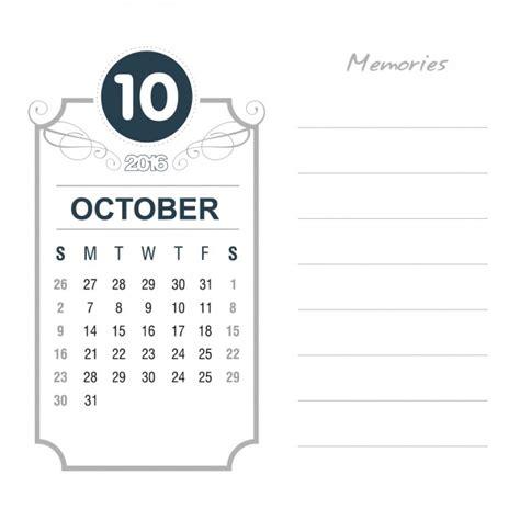 Calendario 2016 Octubre Calendario Octubre 2016 Vintage Descargar Vectores Gratis