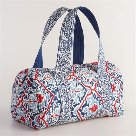 Quilted Weekender Bag by Blue And White Quilted Weekender Bag World Market