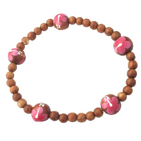 Handmade Hawaiian Jewelry - hawaiian jewelry handmade koa wood bead pink flower